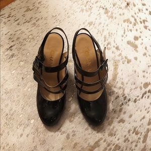 Chanel black patent and nude quilted heels sz 38.5